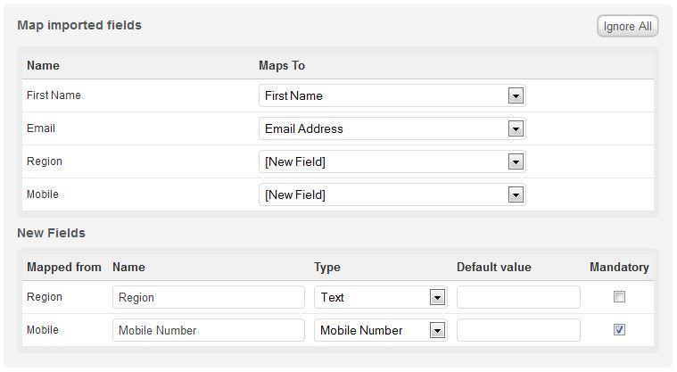 Adding new fields via imports