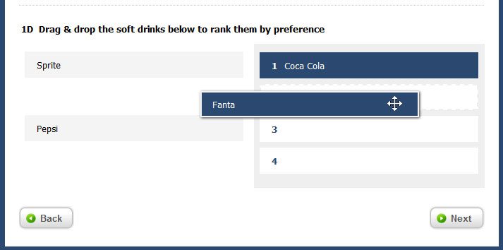 Drag & Drop Ranking Question